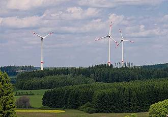 Windpark am Horizont bei Tag